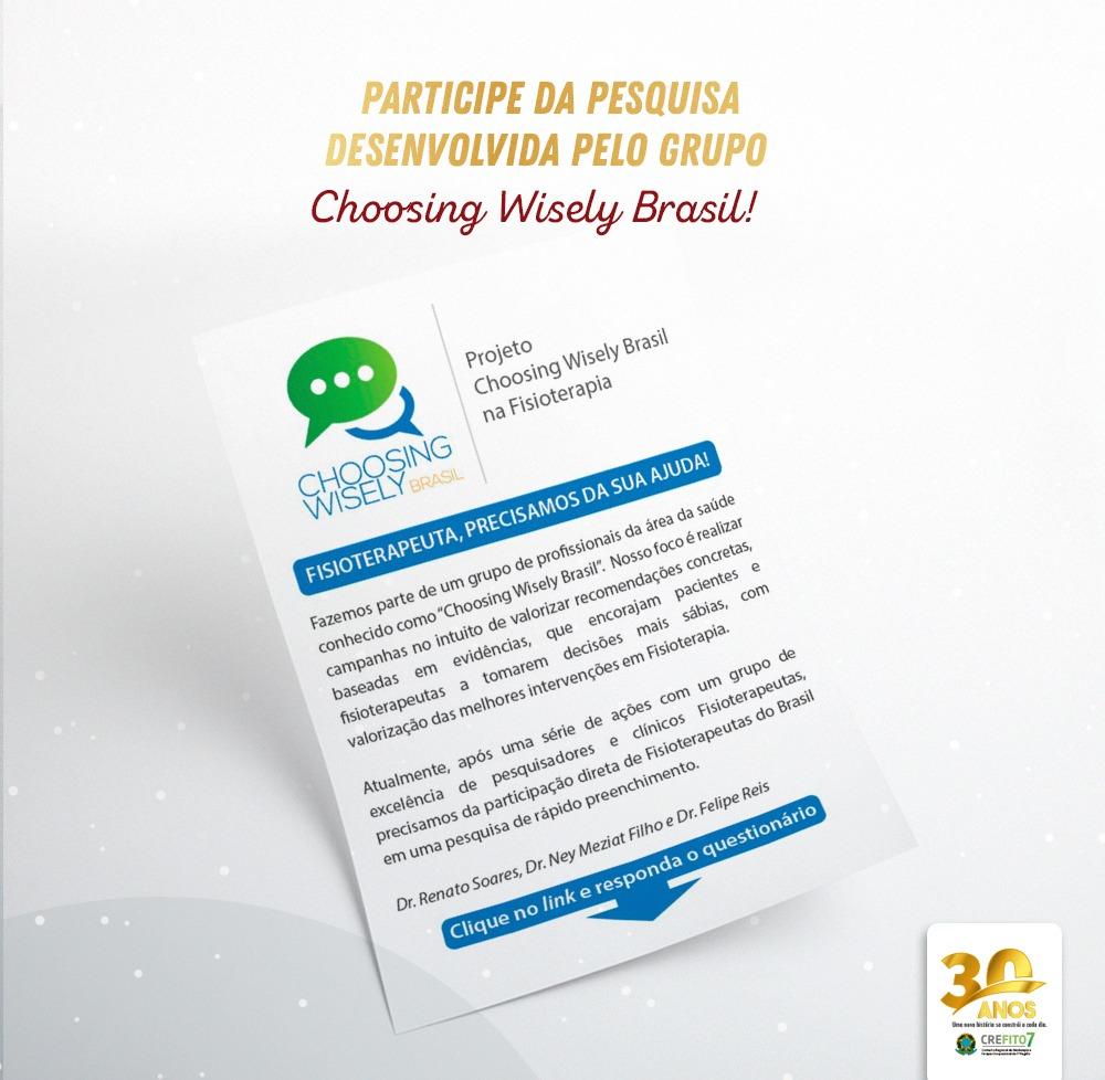 Participe da pesquisa desenvolvida pelo grupo Choosing Wisely Brasil!