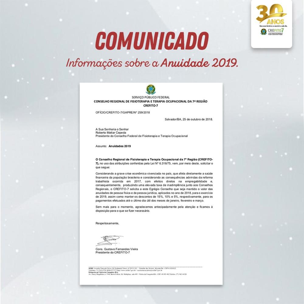 Comunicado - Anuidade 2019