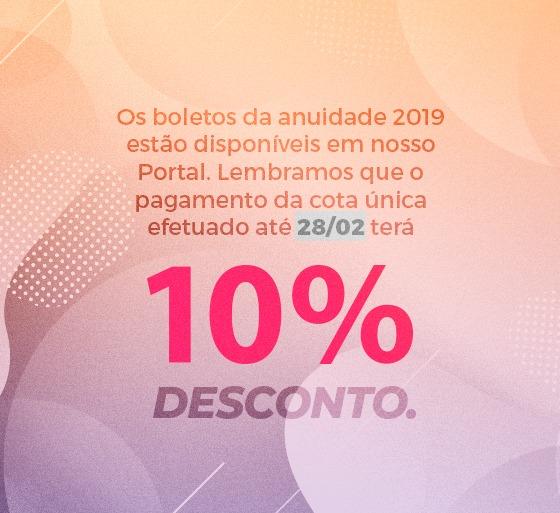 Pague a anuidade 2019 com 10% de desconto!