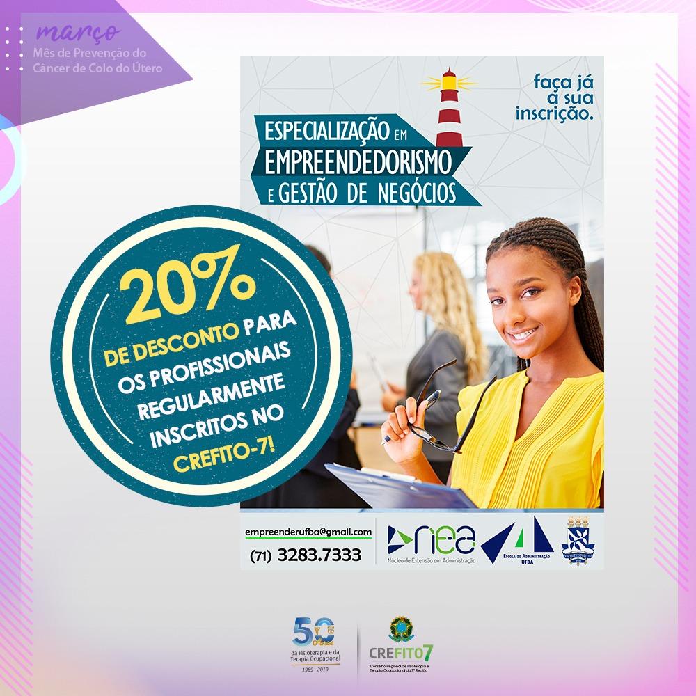"""Inscritos no CREFITO-7 terão 20% de desconto no curso """"Especialização em Empreendedorismo e Gestão de Negócios"""""""