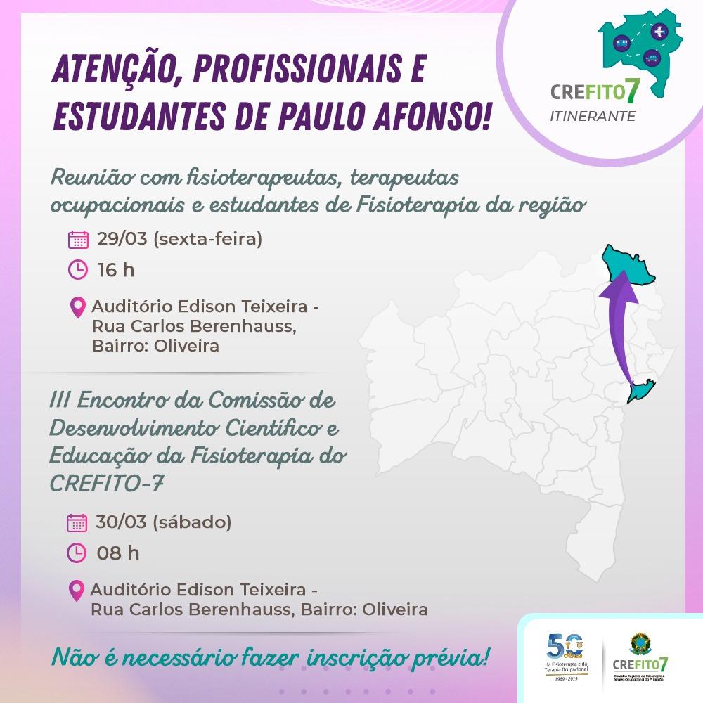 CREFITO-7 Itinerante estará no município de Paulo Afonso!