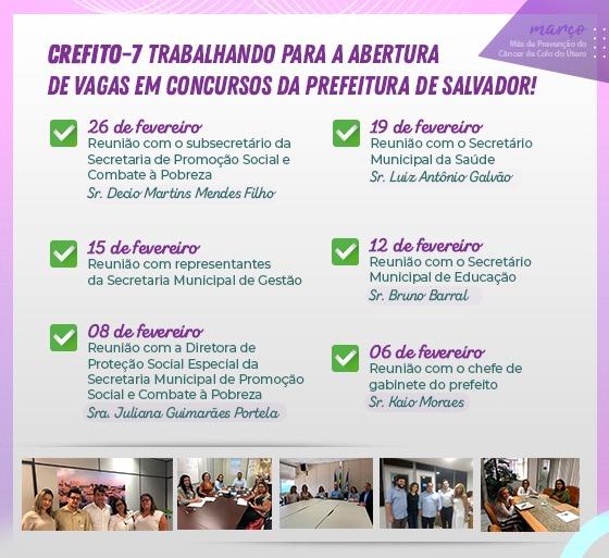CREFITO-7 trabalhando para a abertura de vagas nos concursos da Prefeitura de Salvador
