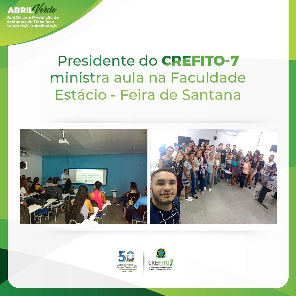 Presidente do CREFITO-7 ministra aula-palestra para estudantes da Faculdade Estácio - Feira de Santana