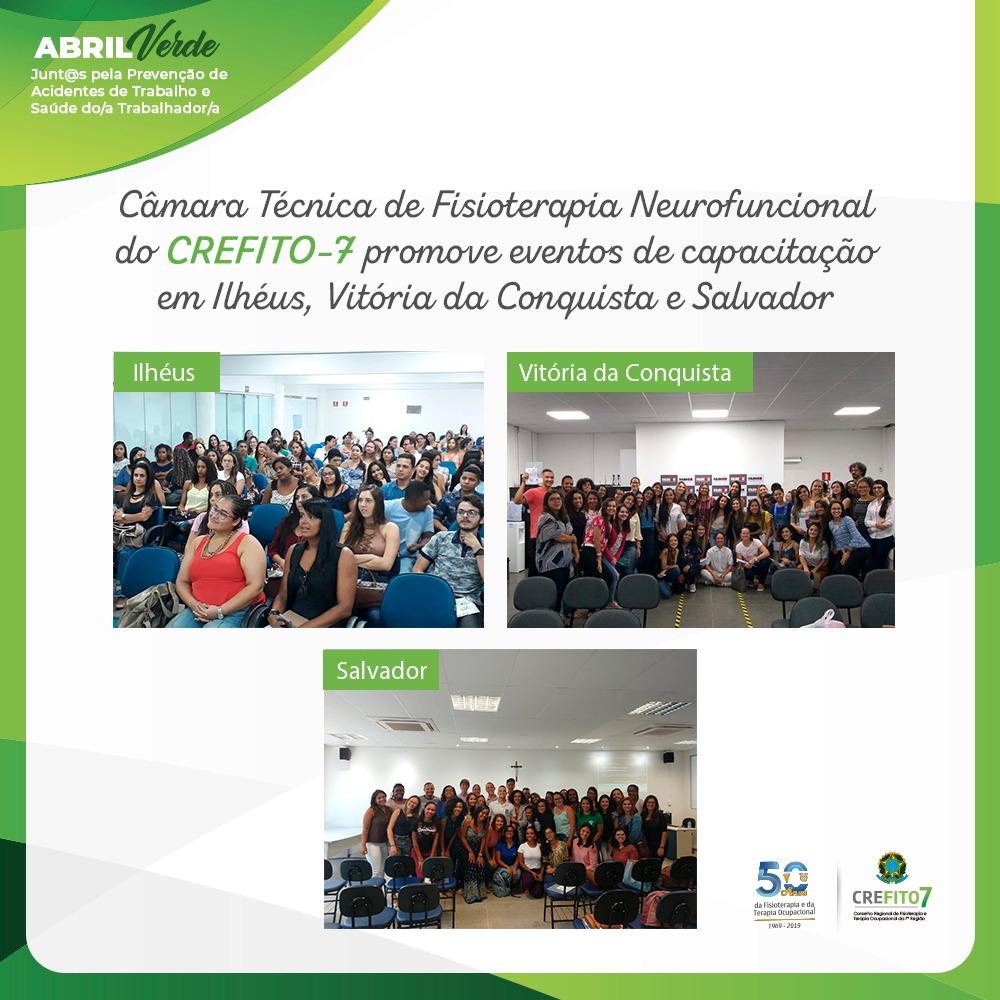 Câmara Técnica de Fisioterapia Neurofuncional realiza eventos em Ilhéus, Vitória da Conquista e Salvador