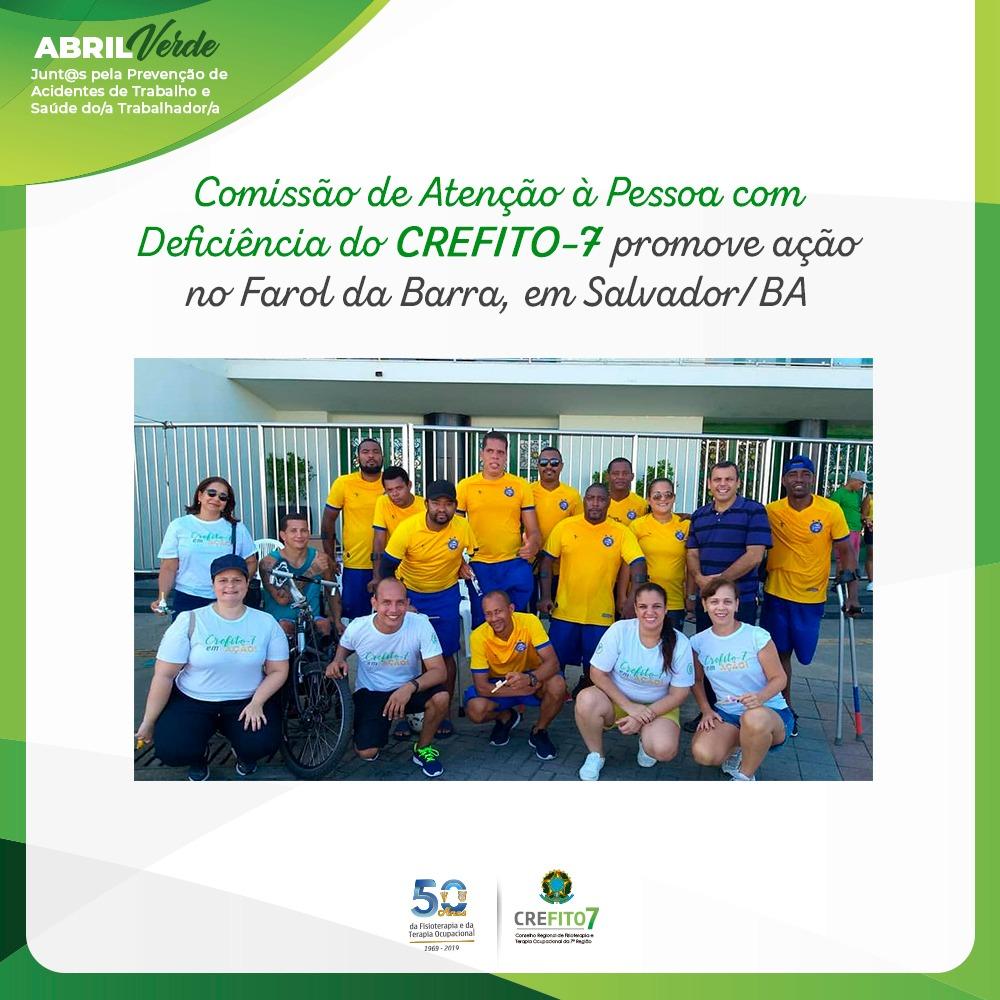 Comissão de Atenção à Pessoa com Deficiência do CREFITO-7 promove ação no Farol da Barra