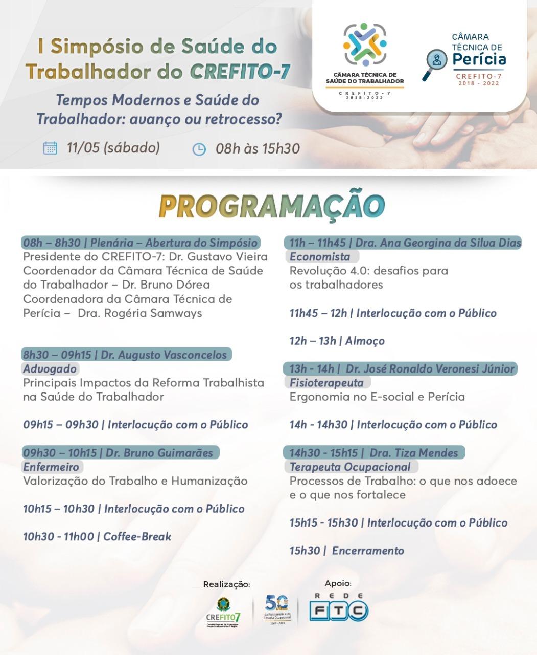 Programação do I Simpósio de Saúde do Trabalhador do CREFITO-7