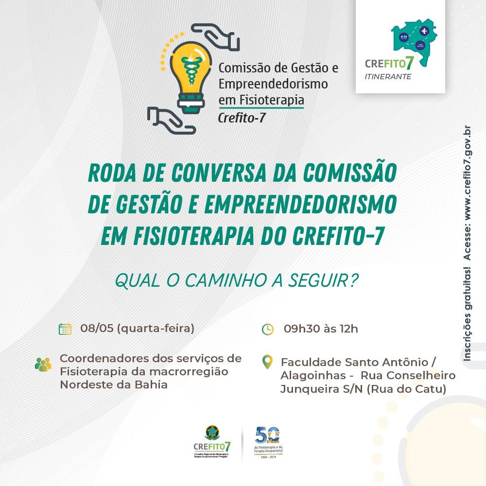 Comissão de Gestão e Empreendedorismo em Fisioterapia promoverá Roda de Conversa em Alagoinhas!