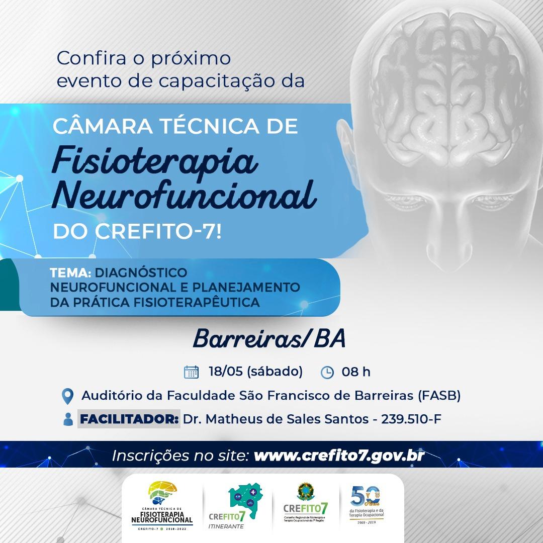 Câmara Técnica de Fisioterapia Neurofuncional realizará capacitação técnica no município de Barreiras