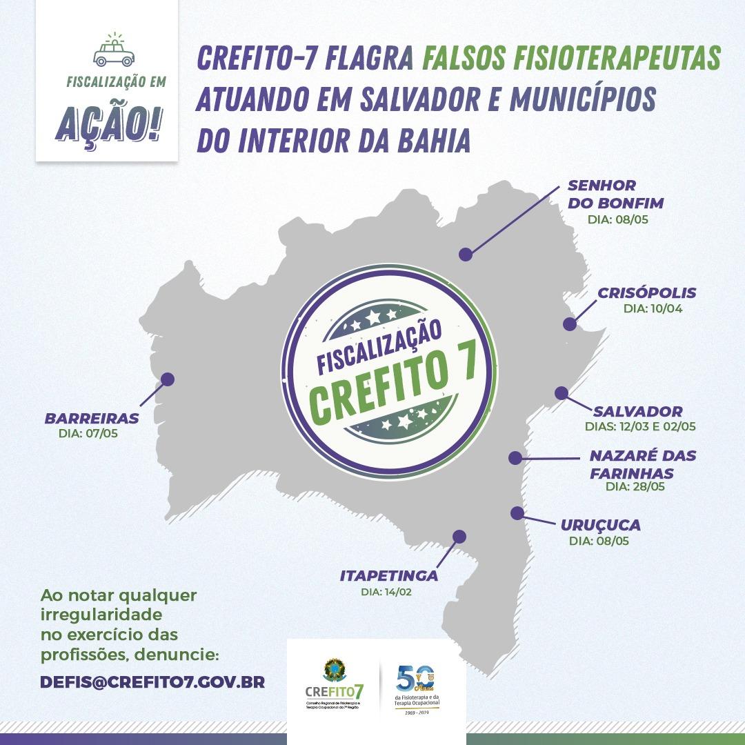 Fiscalização flagra falsos fisioterapeutas atuando em Salvador e municípios do interior da Bahia