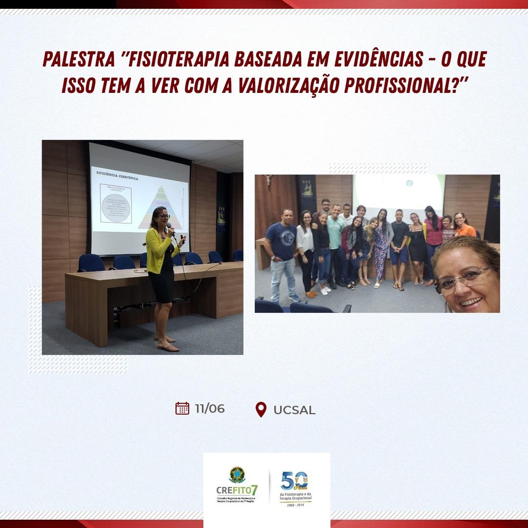 Conselheira do CREFITO-7 ministra palestra sobre Fisioterapia Baseada em Evidências na UCSAL