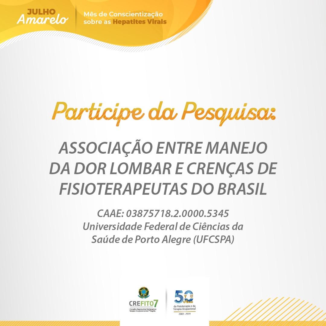 Pesquisa: Associação entre Manejo da Dor Lombar e Crenças de Fisioterapeutas do Brasil