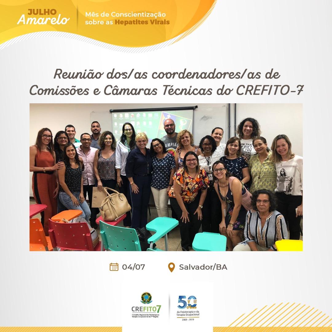 Reunião dos coordenadores/as de Comissões e Câmaras Técnicas do CREFITO-7 para discutir o evento do cinquentenário de regulamentação das profissões