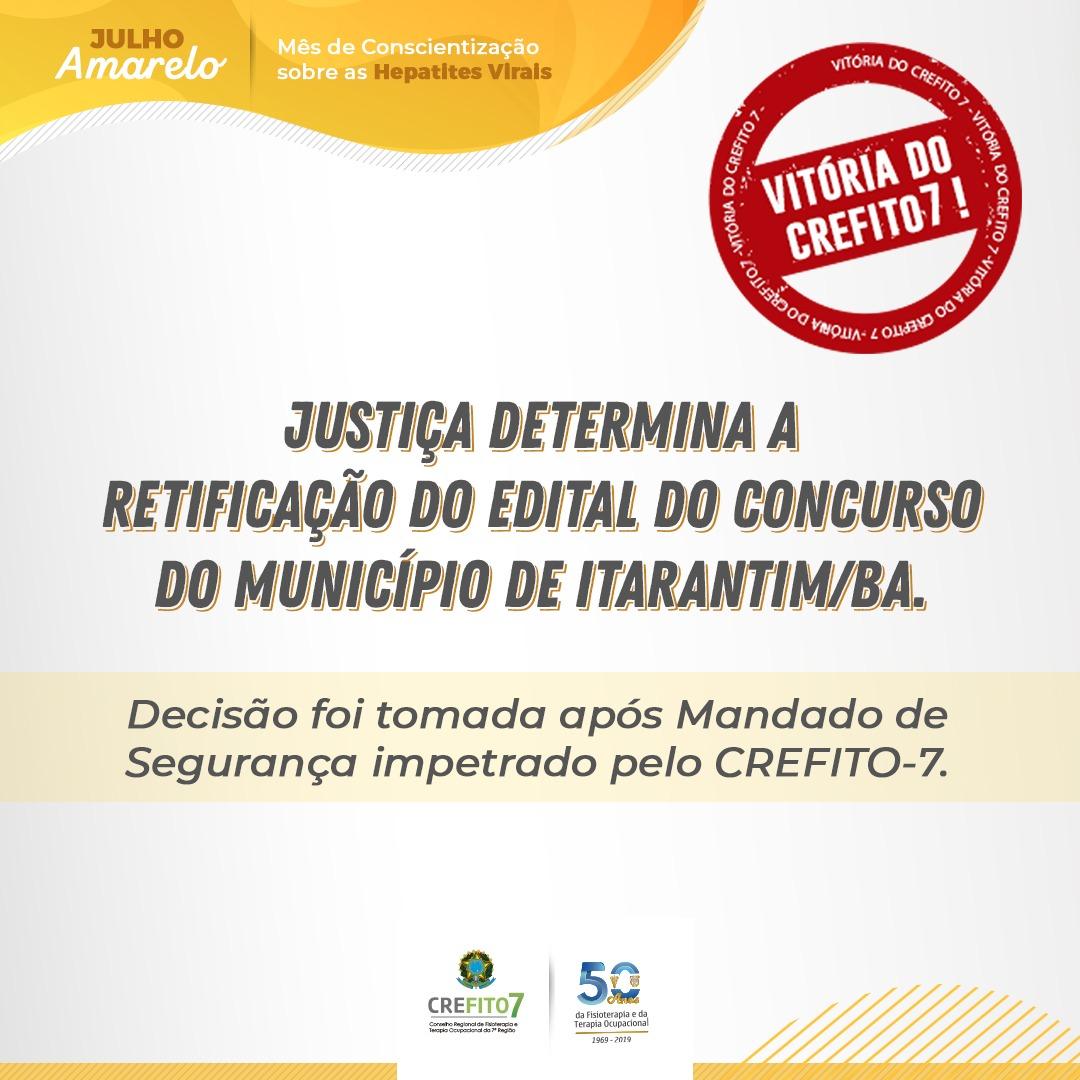 Justiça determina retificação do edital do concurso da prefeitura de Itarantim/BA