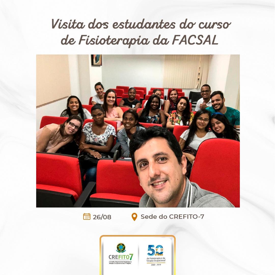 CREFITO-7 recebe estudantes de Fisioterapia da FACSAL