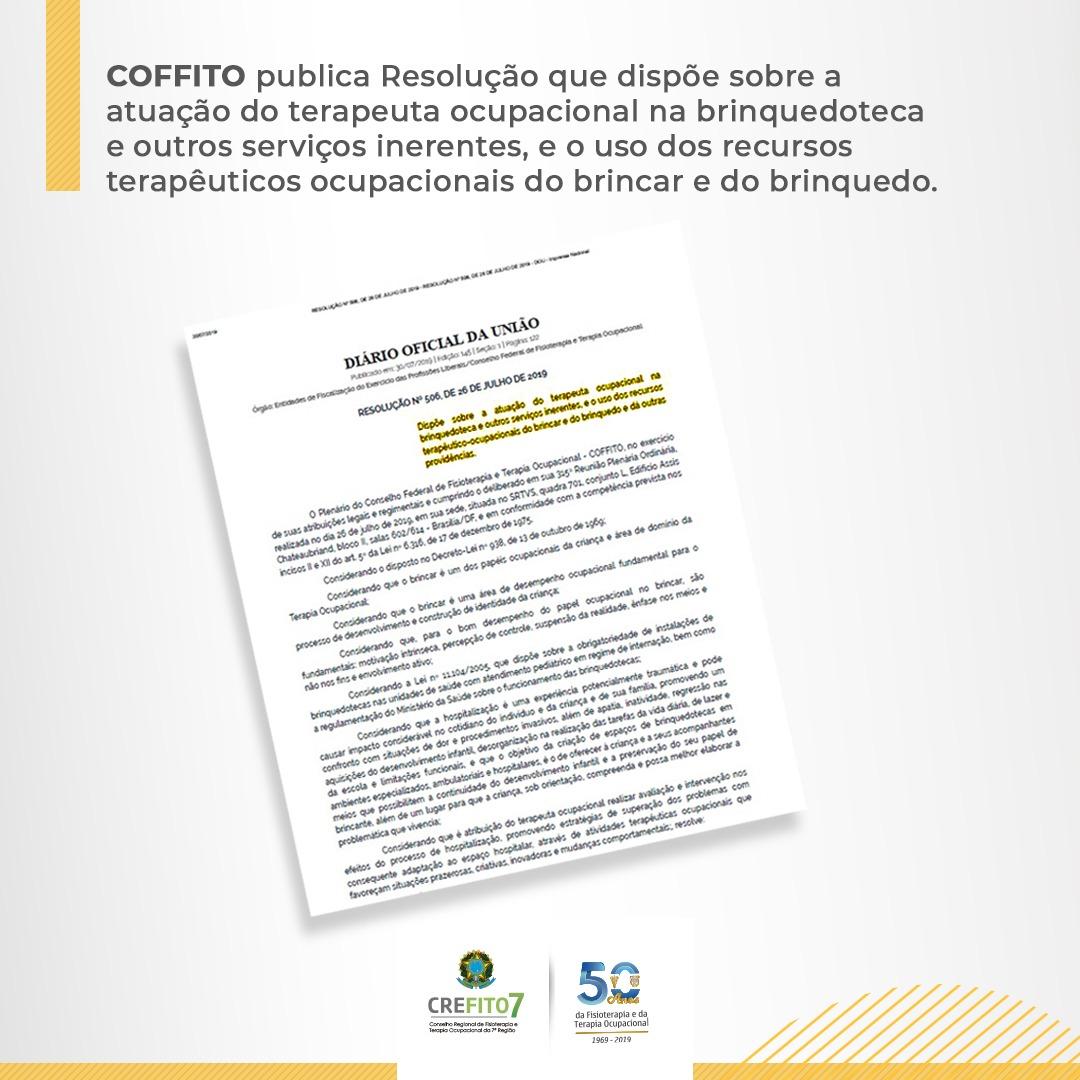 COFFITO publica Resolução que dispõe sobre a atuação do Terapeuta Ocupacional na brinquedoteca