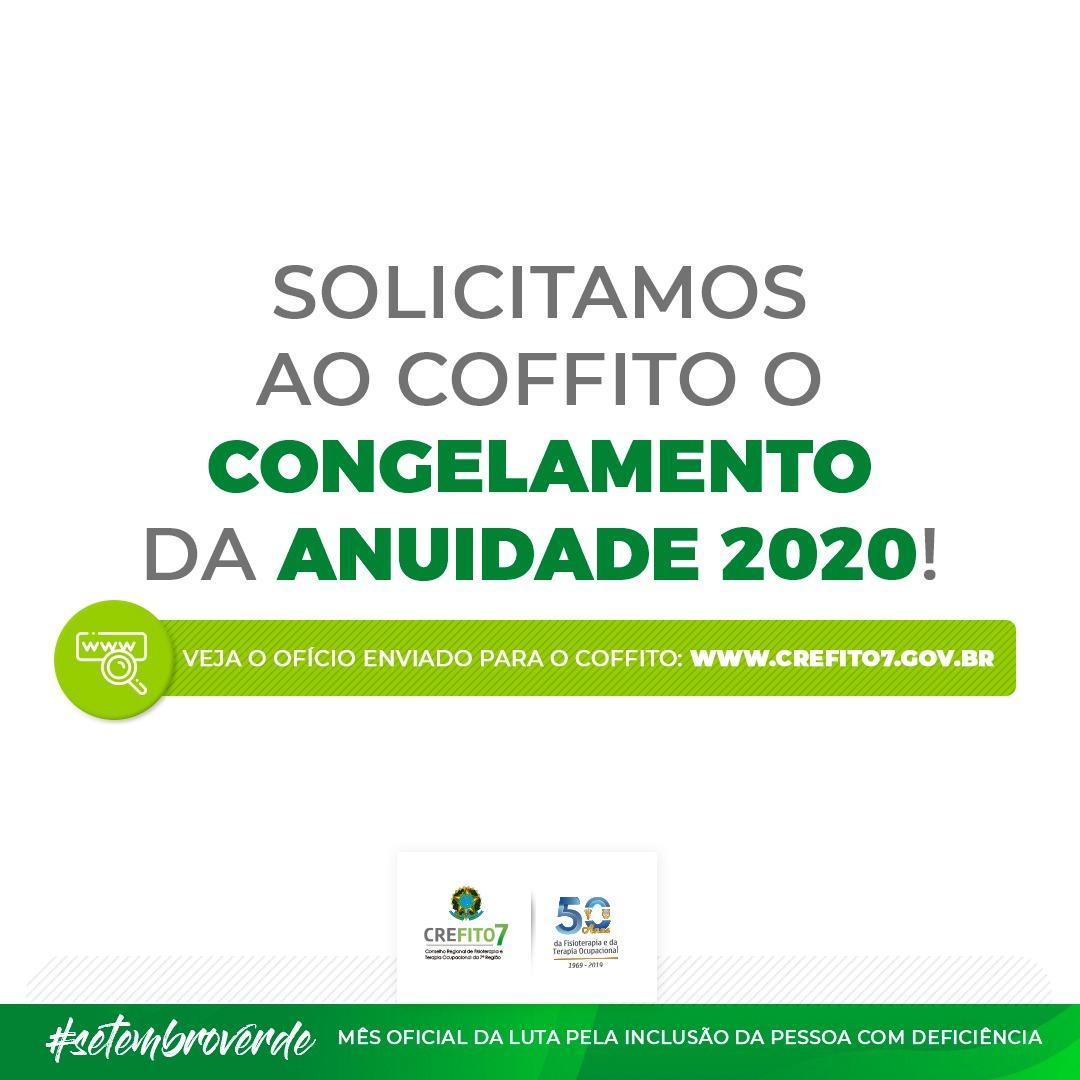 CREFITO-7 solicita o congelamento da anuidade 2020 ao COFFITO