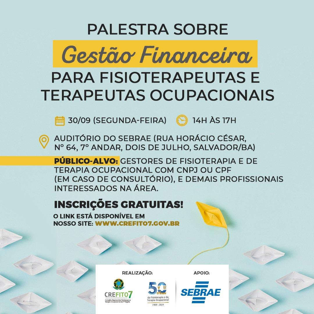 Inscrições abertas para a palestra sobre Gestão Financeira para Fisioterapeutas e Terapeutas Ocupacionais