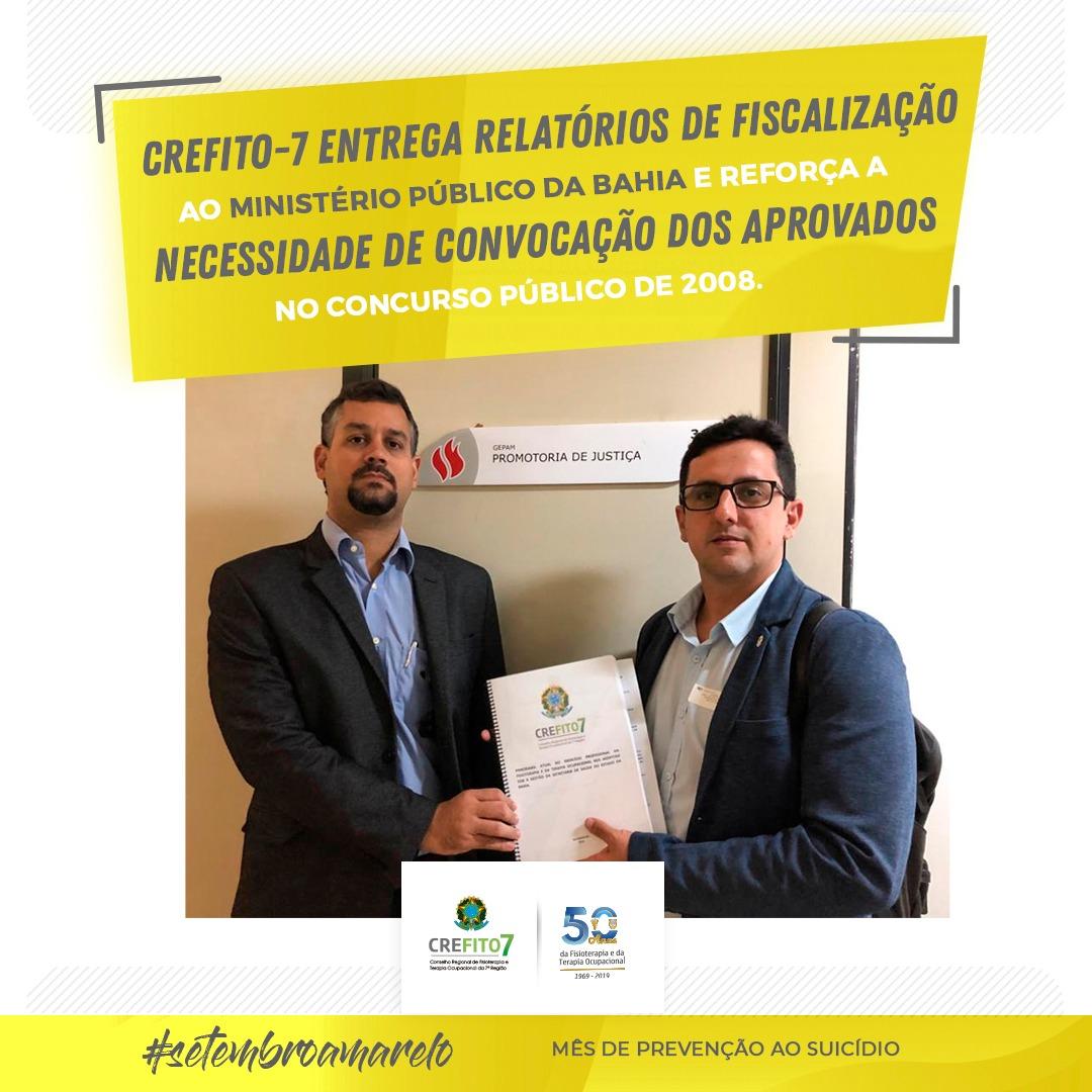CREFITO-7 entrega relatório de fiscalização ao Ministério Público da Bahia