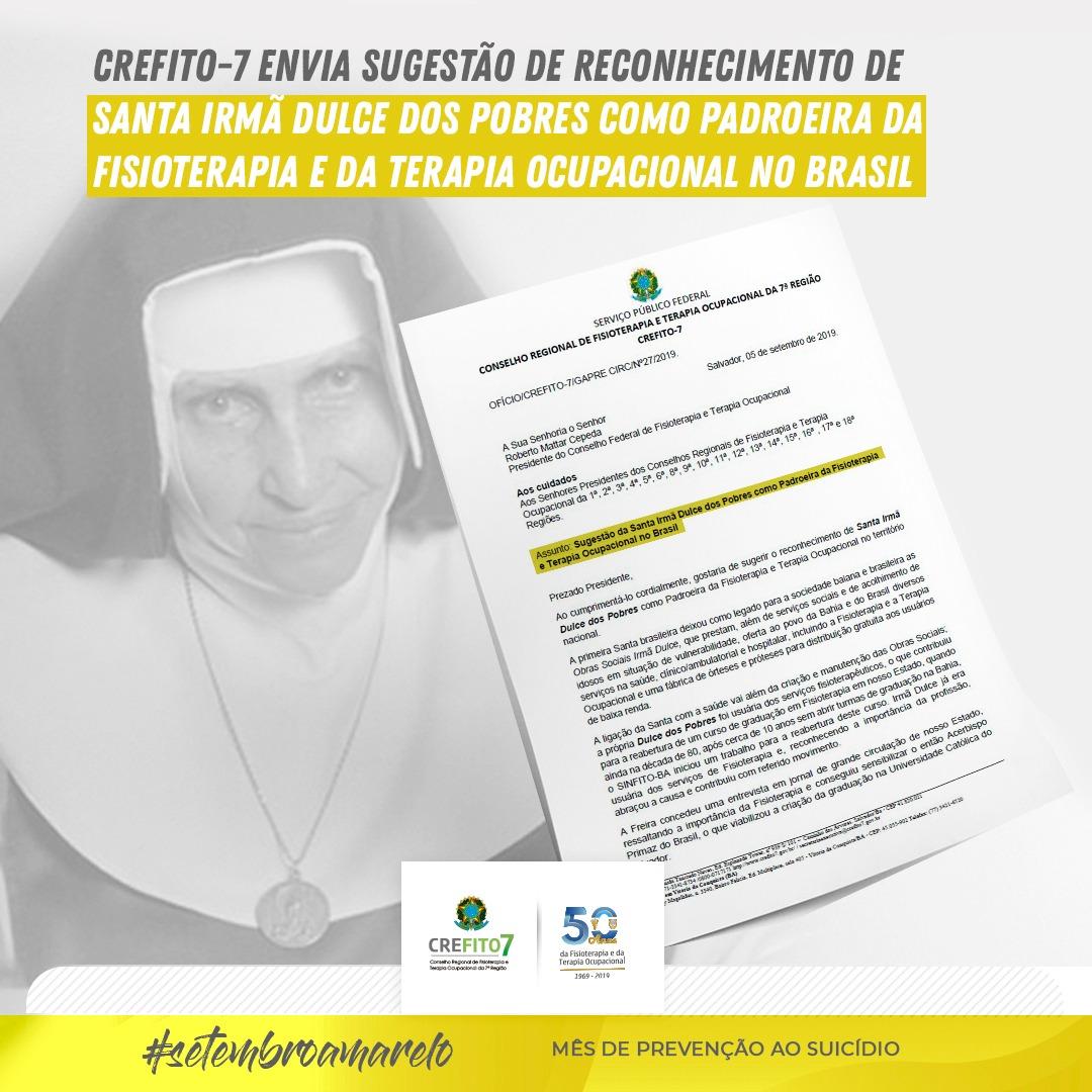 CREFITO-7 envia sugestão de reconhecimento de Santa Irmã Dulce dos Pobres como padroeira da Fisioterapia e da Terapia Ocupacional