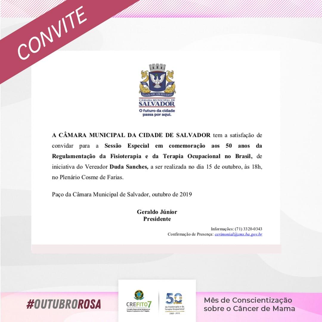Sessão Especial em comemoração aos 50 anos da regulamentação da Fisioterapia e Terapia Ocupacional no Brasil