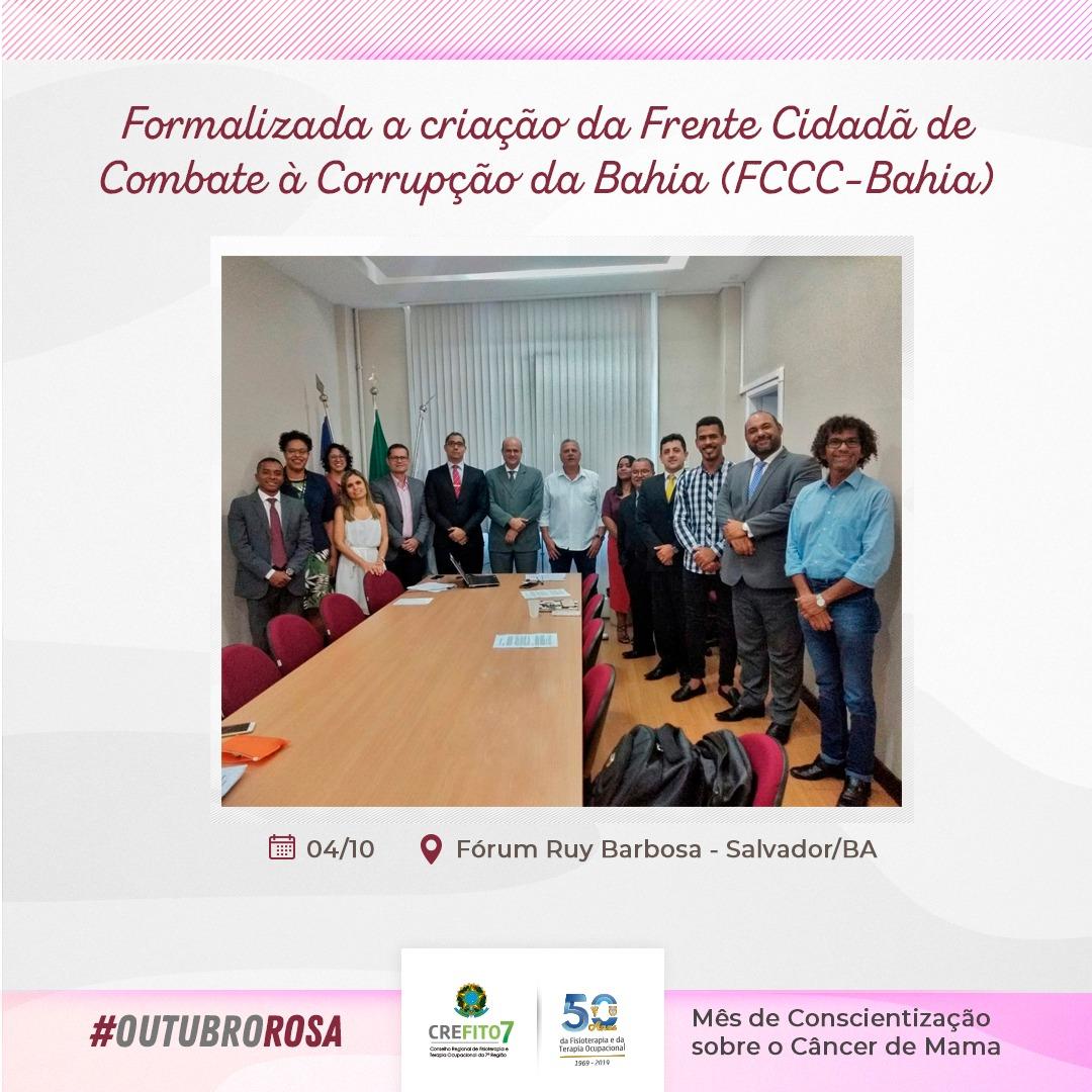 Criação da Frente Cidadã de Combate à Corrupção da Bahia (FCCC-Bahia)