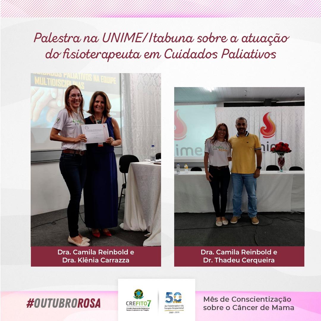 Colaboradora do CREFITO-7 ministra palestra sobre Cuidados Paliativos na UNIME - Itabuna
