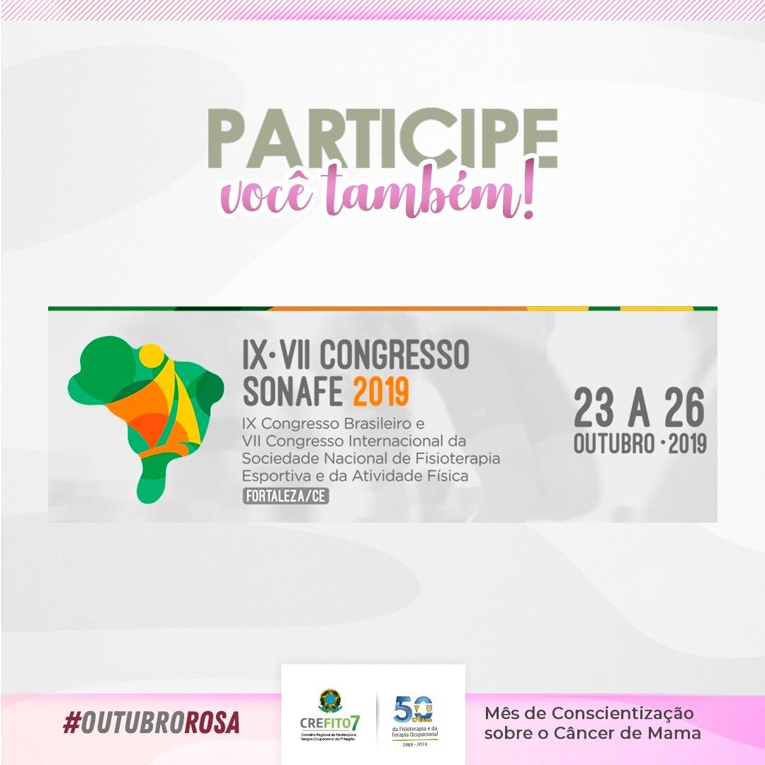 Participe do IX Congresso Brasileiro e VII Congresso Internacional da Sociedade Nacional de Fisioterapia Esportiva e da Atividade Física!