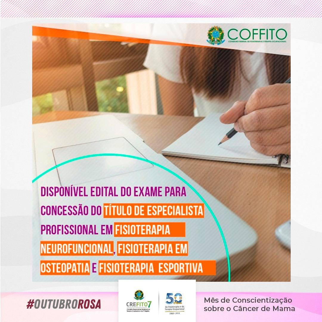 COFFITO publica editais do Exame para Concessão do Título de Especialista Profissional