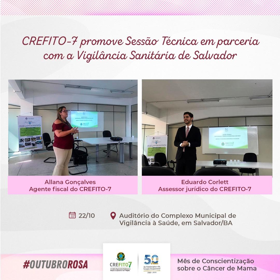 CREFITO-7 promove Sessão Técnica em parceria com a Vigilância Sanitária de Salvador