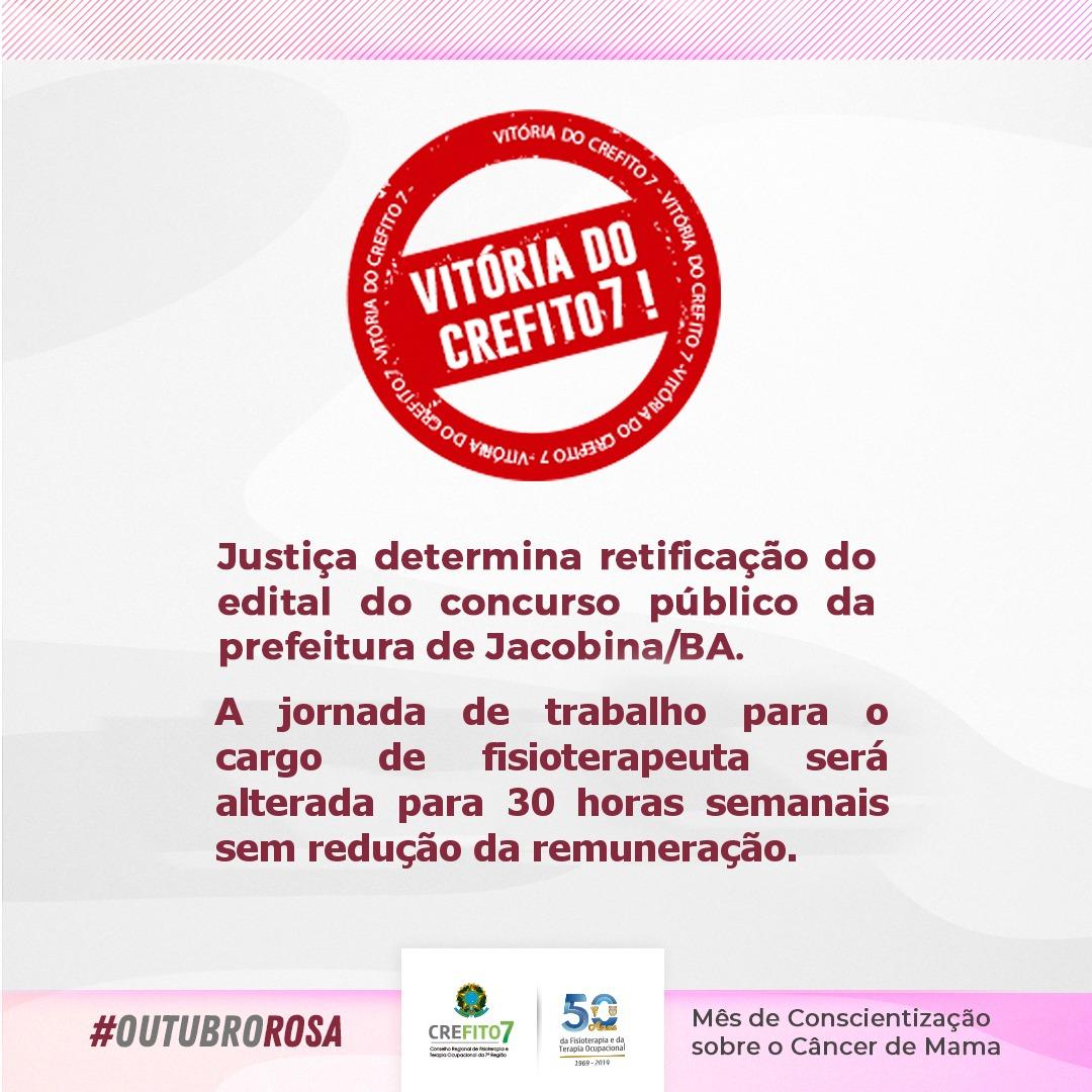Justiça determina retificação do edital do concurso público da Prefeitura de Jacobina