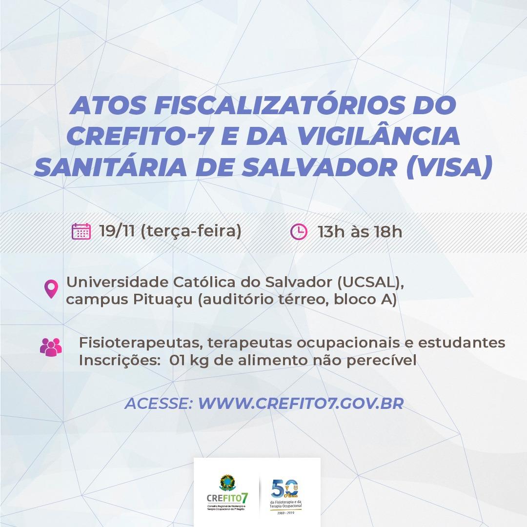 Inscrições abertas para a palestra sobre atos fiscalizatórios do CREFITO-7 e da VISA