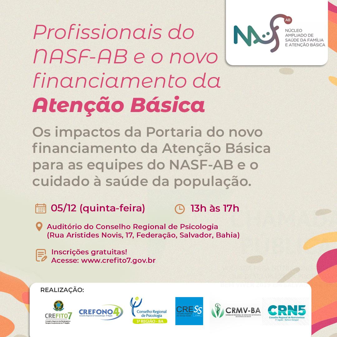 Encontro: Profissionais do NASF-AB e o novo financiamento da Atenção Básica