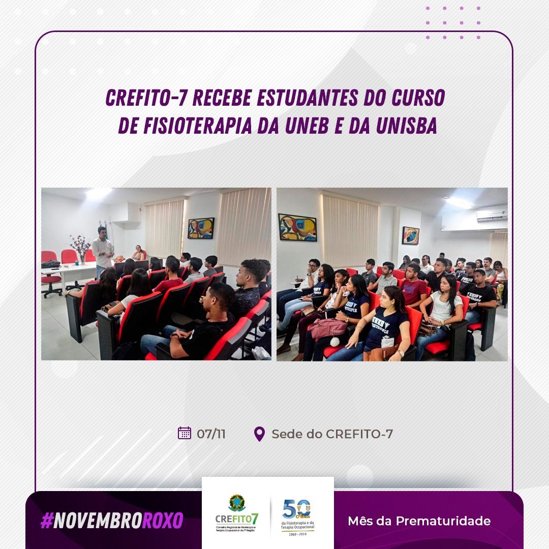 CREFITO-7 recebe visita de estudantes do curso de Fisioterapia da UNISBA e da UNEB