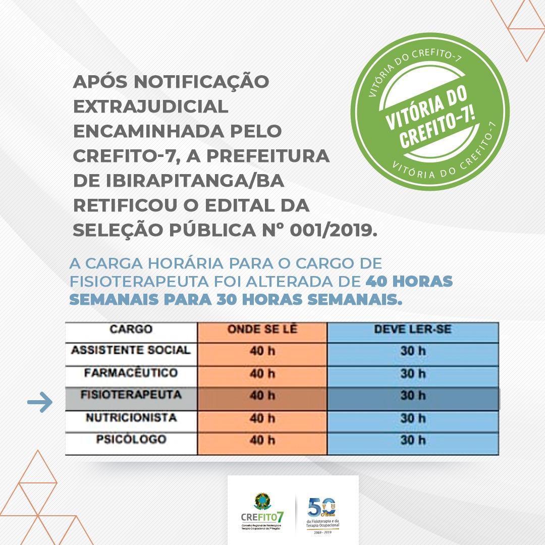 Prefeitura de Ibirapitanga retifica edital após notificação extrajudicial do CREFITO-7!