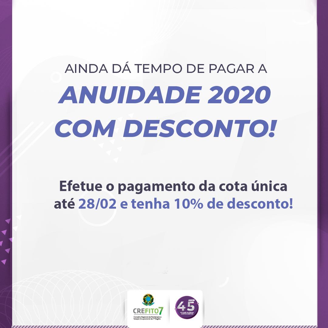 Pague o boleto da anuidade 2020 com 10% de desconto!