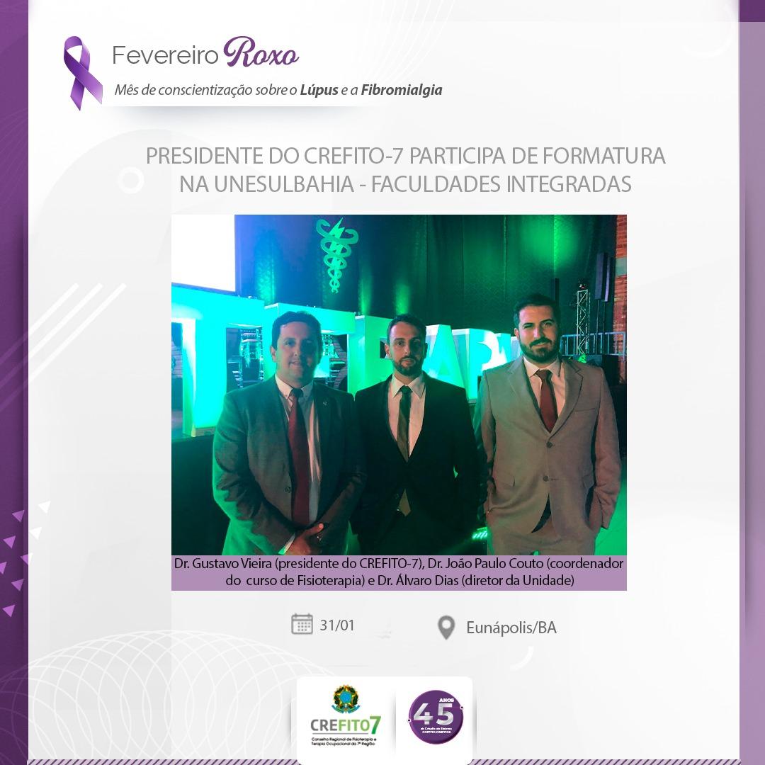 Presidente do CREFITO-7 participa de formatura na UNESULBAHIA