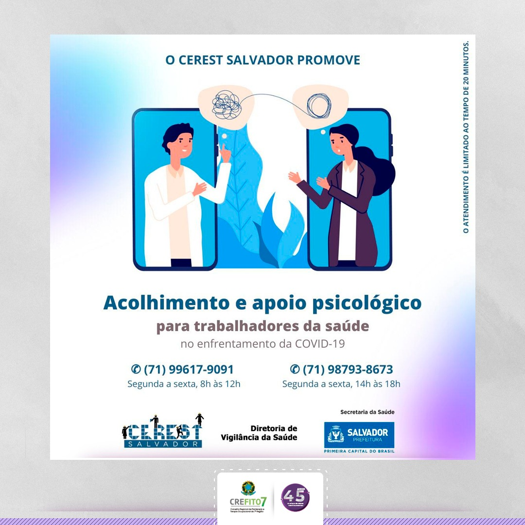 CEREST-SALVADOR realiza acolhimento psicológico online para trabalhadores da Saúde