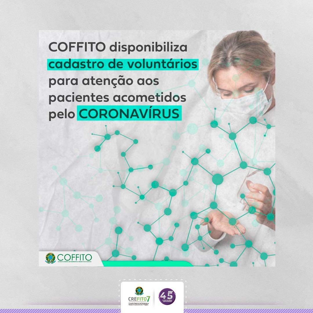 COFFITO cria Cadastro Nacional de Profissionais Voluntários