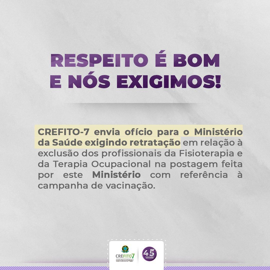 CREFITO-7 exige retratação do Ministério da Saúde