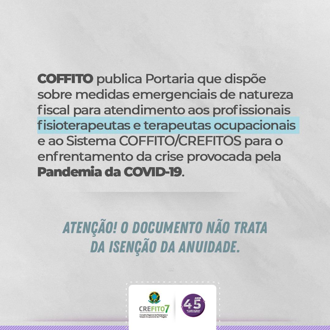 COFFITO publica Portaria referente à anuidade 2020