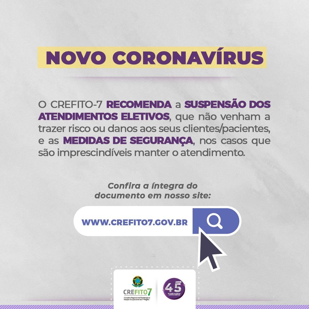 Novo Coronavírus: recomendações do CREFITO-7
