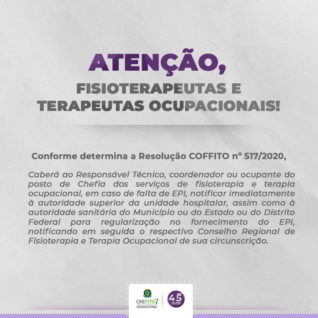 COFFITO publica Resolução que dispõe sobre a fiscalização quanto à disponibilização de EPIs