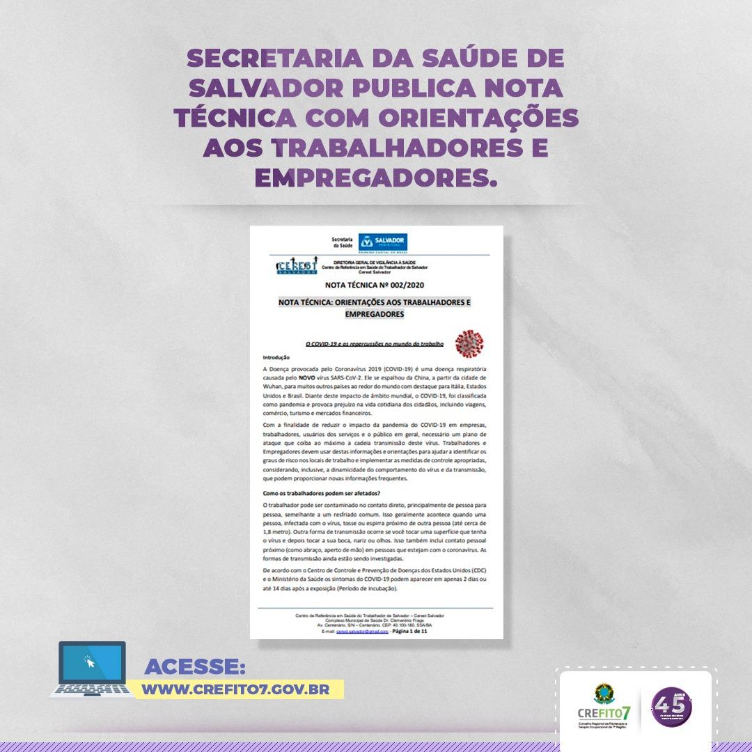 Secretaria da Saúde de Salvador disponibiliza Nota Técnica sobre o novo Coronavírus