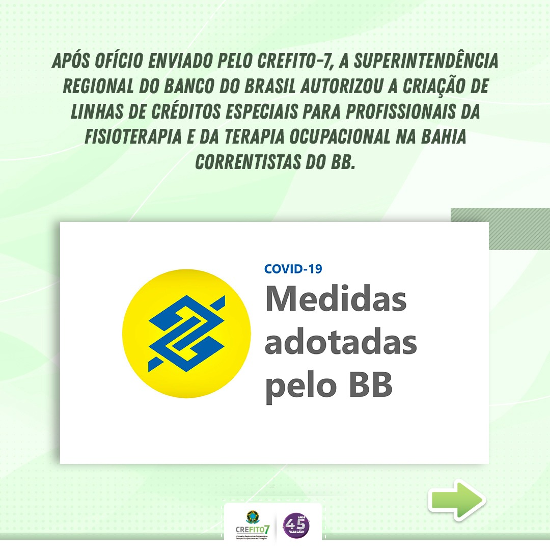Banco do Brasil cria linhas de créditos especiais para fisioterapeutas e terapeutas ocupacionais