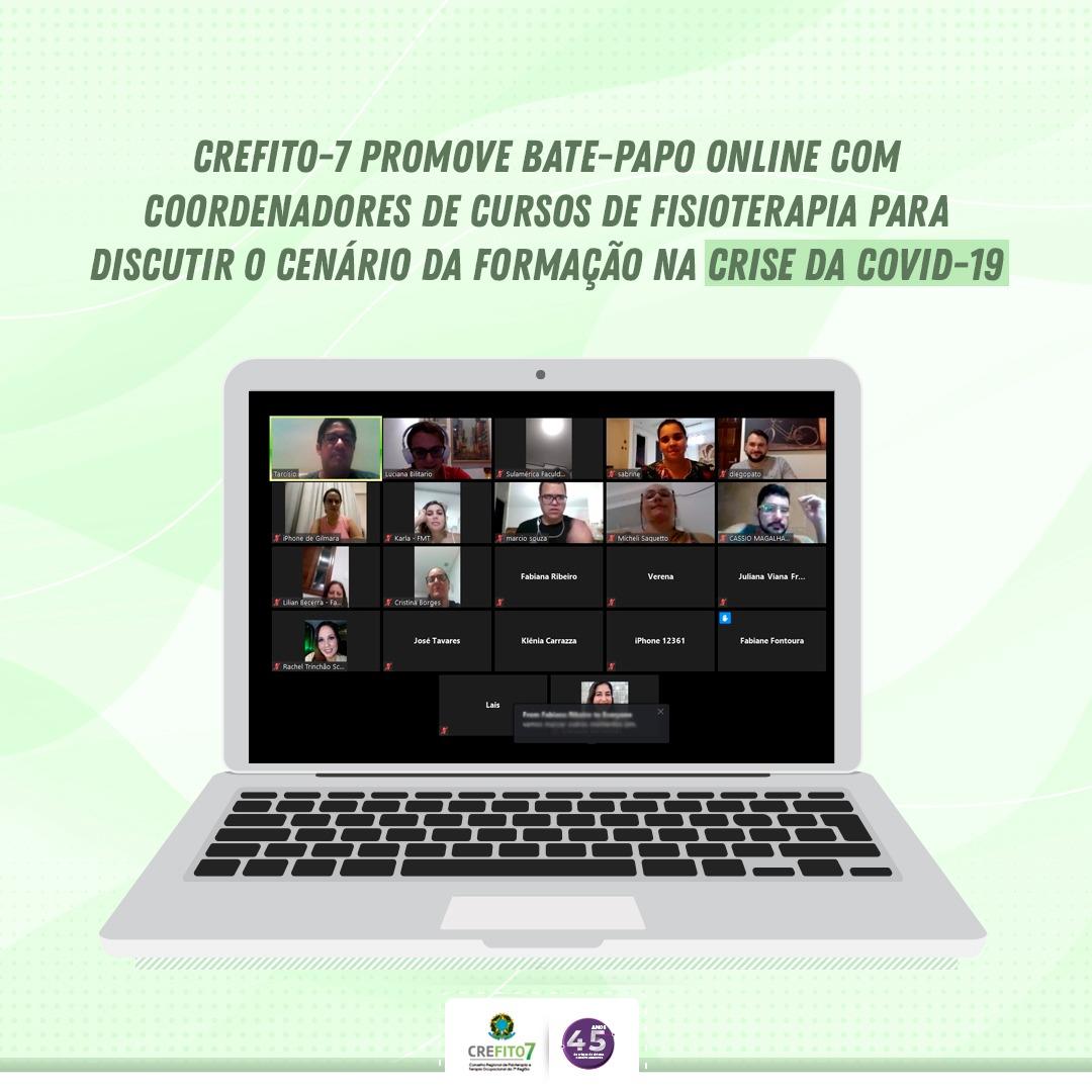 CREFITO-7 promove bate-papo online com coordenadores de cursos de Fisioterapia