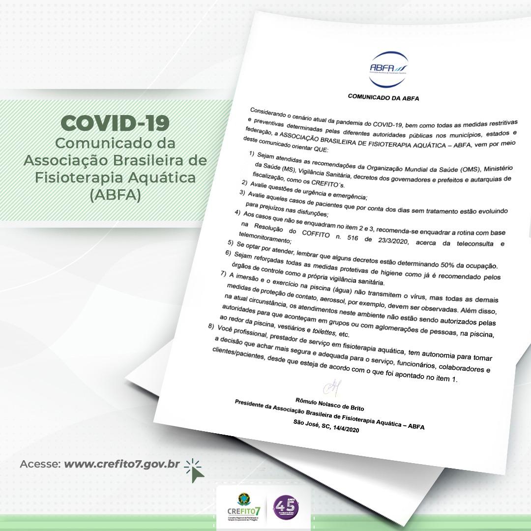 Orientações da Associação Brasileira de Fisioterapia Aquática (ABFA)