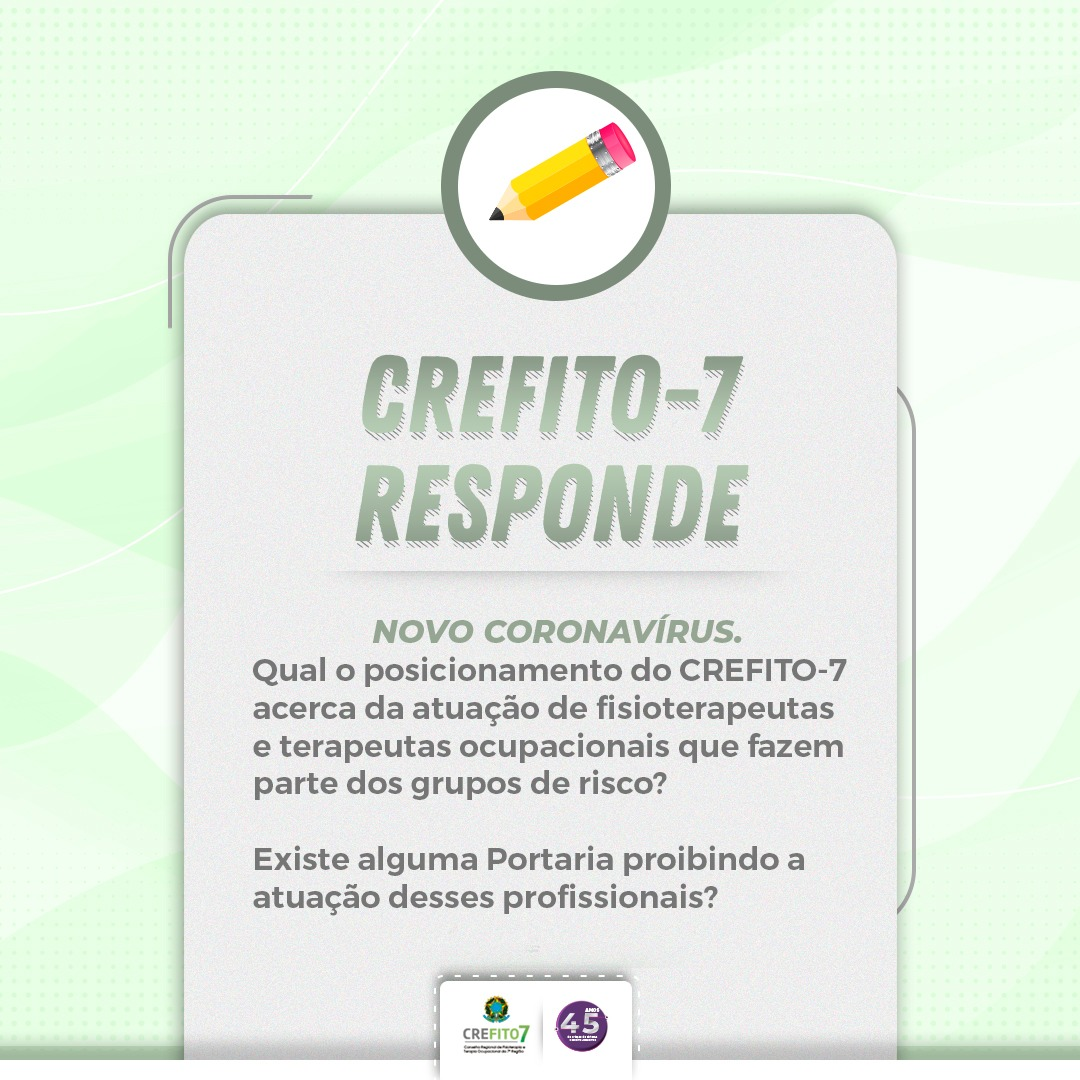 Posicionamento do CREFITO-7 acerca da atuação de profissionais que fazem parte dos grupos de risco