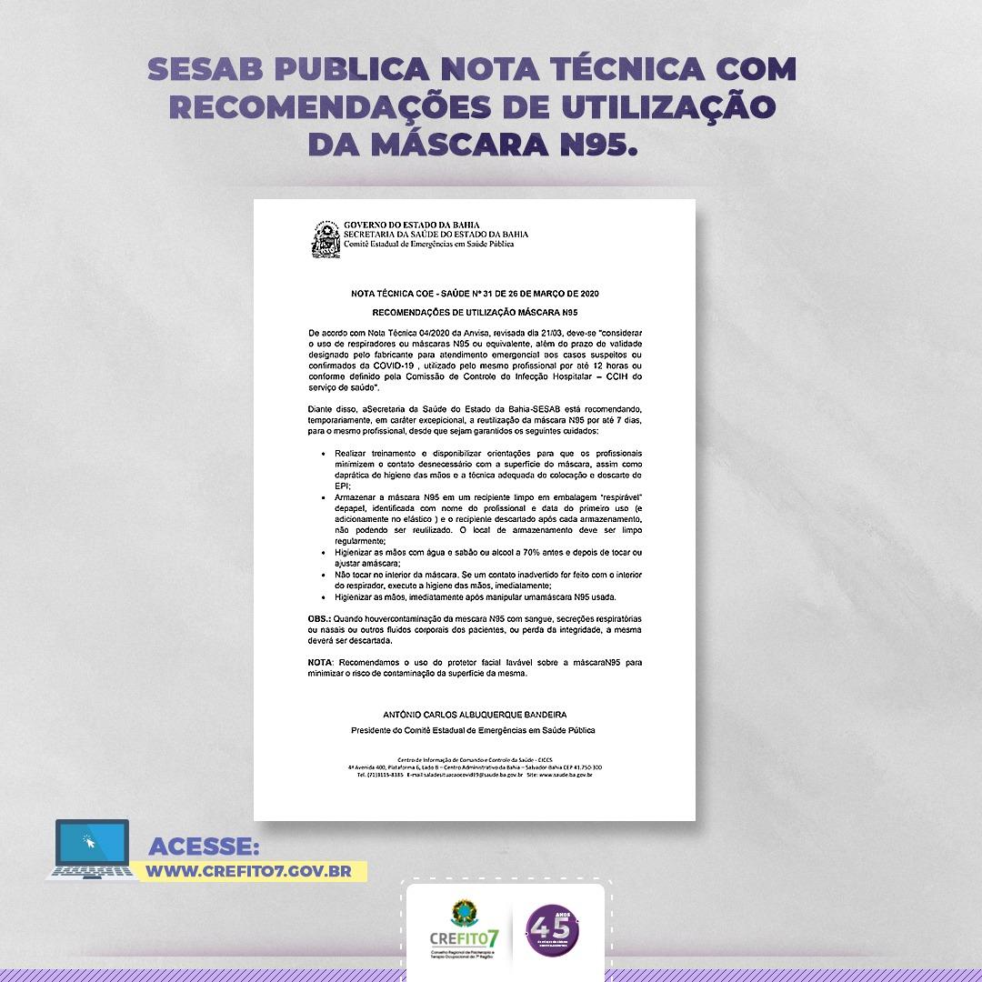 SESAB publica nota técnica sobre uso da máscara N95
