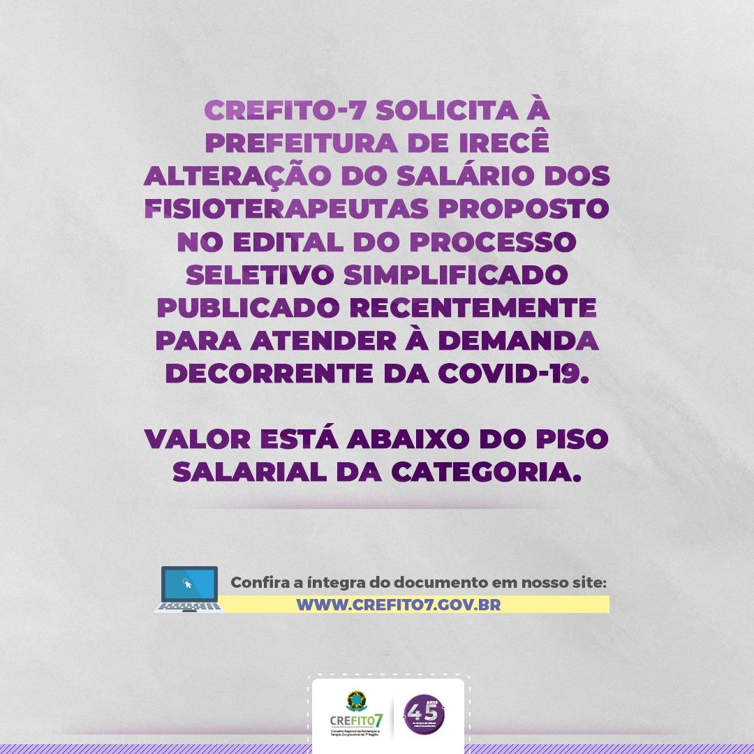 CREFITO-7 envia ofício para a Prefeitura de Irecê/BA