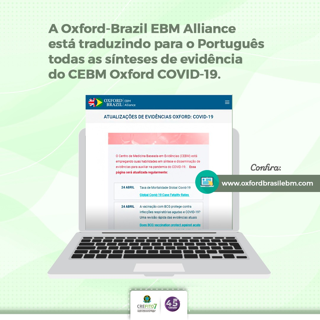 COVID-19. Oxford-Brazil EBM Alliance está traduzindo para o Português todas as sínteses de evidência do CEBM